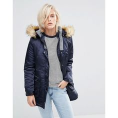 Girls On Film Parka With Faux Fur Hood ($34) ❤ liked on Polyvore featuring outerwear, coats, navy, fur-lined coats, white coat, navy skort, colorblock coat and color block coats