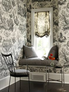 Black and white - love the chinoiserie wallpaper and window treatment, with checkerboard fabric
