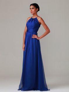 Gathered Neckline Chiffon Dress; Color: Classic Blue; Sizes Available: 2-26W, Custom Size; Fabric: Chiffon