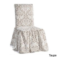 Damask Print Ruffled Dining Chair Slipcovers (Set of 2)   Overstock.com Shopping - Big Discounts on Classic Slipcovers Other Slipcovers