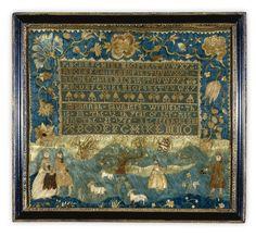 RARE NEEDLEWORK SAMPLER, SUSANNAH SAUNDERS, SARAH STIVOURS SCHOOL, MASSACHUSETTS, DATED 1766