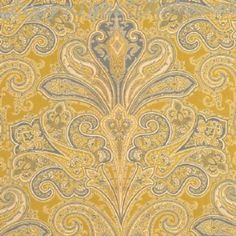 Kellie - Yellow French Blue and Off White - Wallpaper by cathryn Cream Wallpaper, Love Wallpaper, Fabric Wallpaper, Pattern Wallpaper, Wallpaper Designs, Golden Wall, Linen Cupboard, Orange Paper, Mood Fabrics