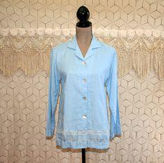 Linen Blouse Embroidered Shirt Light Blue Top Boho Romantic