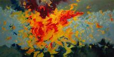 "Paul Wienand: ""Eruption"", 2013 Öl auf Leinwand/Holz 140 x 70 cm ©"