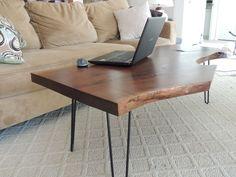 Black Walnut natural wood slab coffee table