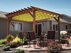 DIY Slide-On Wire-Hung Canopy for a Pergola - I want this whole patio/pergola in our next house!