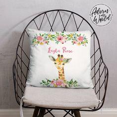 Personalized Giraffe Pillow, Giraffe Gifts, Custom Name Cushion, Giraffe Nursery Decor, Giraffe Baby Shower Gift Girl, Giraffe Name Pillow