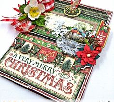 Hop along with Graphic Petaloo & Xyron! Today I'm sharing this Very Merry Christmas Card Tutorial made with Graphic 45 St. Christmas Mini Albums, Merry Christmas Card, Christmas Minis, Christmas Crafts, Christmas Journal, Christmas Scrapbook, Christmas Carol, Xmas Cards, Gift Cards