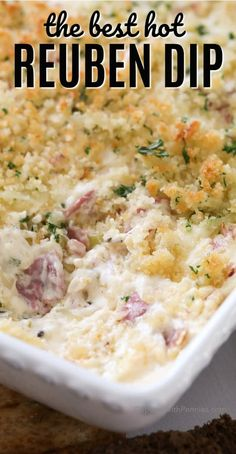 Hot reuben dip in a casserole dish