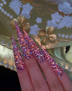 Bling Nails, Stiletto Nails, Gorgeous Nails, Pretty Nails, Anime Nails, Wow Nails, Long Acrylic Nails, Creative Nails, Mani Pedi