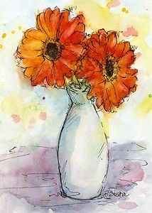 Gerbera Flowers in Vase 5x7 matted Ink and Watercolor