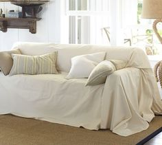 Dropcloth Loose-Fit Slipcover - Twill   Pottery Barn