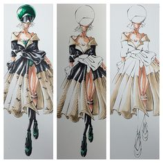 Illustration from my #paleocouture collection.....showing the process.  #fashion #fashionillustration #fashionblog #style #ilovefashion  #art #artist #fashionsketch #design #artwork #drawing #sketch  #style #igdaily #igfashion