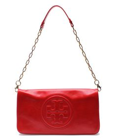 Look what I found on #zulily! Tory Red Bombe Reva Leather Clutch #zulilyfinds