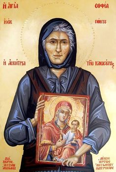 Myrtidiotissa or St. Sophia the Eldress of Kleisoura - May 6 Byzantine Icons, Byzantine Art, Famous Freemasons, Greek Icons, Roman Church, Russian Orthodox, Orthodox Christianity, Religious Icons, Orthodox Icons