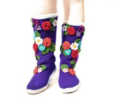 Crochet Boots for the Street Folk Tribal Boots Boho by JoyForToes, €133.00