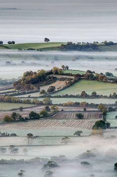 Autumn in Somerset, England #Aerial #Bird's-eye