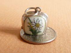Vintage German silver 800 Rare Guilloche Enamel Edelweiss Cow Bell Alpine Charm