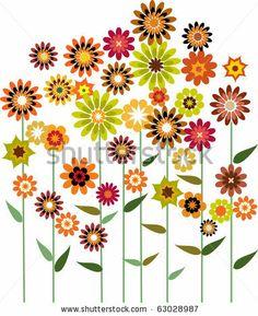 stock vector : autumn flower garden, vector illustration