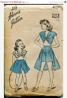 Gorgeous knot top and skirt vintage Advance sewing pattern  #patternpatter