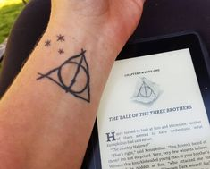 My tattoo (@papajm25) featured as the header (and in the body) of this Bustle article: 12 Deathly Hallows Tattoos that All True Hallows-Seekers Need
