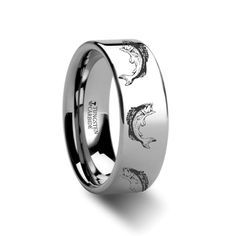 Bass Fish Jumping Sea Print Pattern Ring Engraved Flat Tungsten Ring - 4mm - 12mm