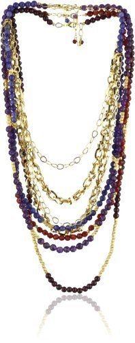 """MINU Jewels Gemstone Set Necklace MINU Jewels. $92.99. Sold as a set of four necklaces. Each gemstone necklace has it's own lobster clasp. Faceted garnet, amethyst, carnelian, sodalite, gp chains, 14kt vermeil. Each strand can be worn separately or together, mix & match. (set of all 4 strands). Sodalite Necklace: 17""""; Carnelain Necklace: 19""""; Amethyst Necklace: 21""""; Garnet Necklace: 24"""". Made in United States"""