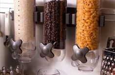 We LOVE these dry food dispensers! This product gives a very modern look to any kitchen. It is also a great way to keep cereal, noodles, coffee beans, pet
