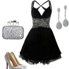 dress little black dress short prom dress black silver silver shoes prom little black dress Cute Prom Dresses, Prom Outfits, Dance Dresses, Homecoming Dresses, Pretty Dresses, Beautiful Dresses, Dress Outfits, Short Dresses, Dress Up