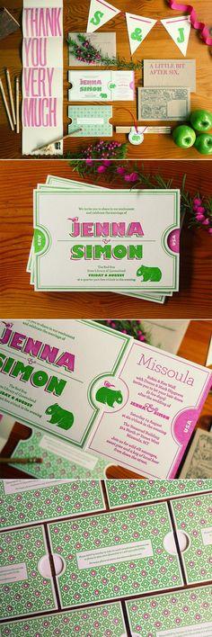 Jenna Simons modern letterpress wedding invites