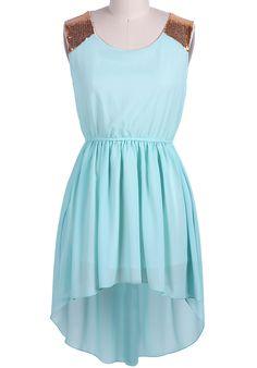 Green Sleeveless Sequined Shoulder High Low Dress - Sheinside.com