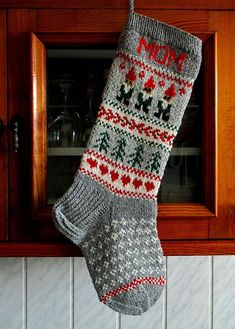 Items similar to Knit Christmas Stockings or Personalized Hand knit Wool Red Green Gray White Gnomes Snowflakes Hearts and Trees on Etsy Knit Stockings, Knitted Christmas Stockings, Christmas Knitting, Knitting Patterns Free, Free Knitting, Knitting Socks, Red Green, Green And Grey, Christmas Decorations