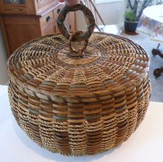 Penobscot Indian Art | Unusual Old Penobscot Indian Ash Sweetgrass Sewing Basket w Pincushion ...