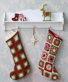Crochet Christmas Stockings Lots of other knitting and crochet patterns, too.