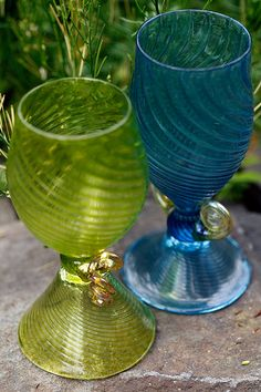 Wine Glass and Goblet Set in Lime Turquoise and by LukeGilveyGlass, $75.00