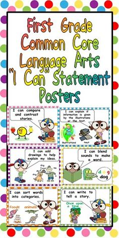 First Grade Language Arts I Can Statement Posters $ Website not showing up but should be able to find on TPT