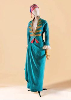 """Dinner suit named """"First Consul"""" by Poiret, circa 1913. Jade green silk inspired by men's formal attire during Consulate period (turn of 19th century), Piasa Auctions via Maria Sergeenkova."""