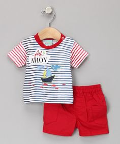 Red & Blue 'Fish Ahoy' Tee & Shorts from Just Too Cute on #zulily #cutiestyle