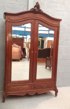 FRENCH MAHOGANY TWO DOOR ARMOIRE