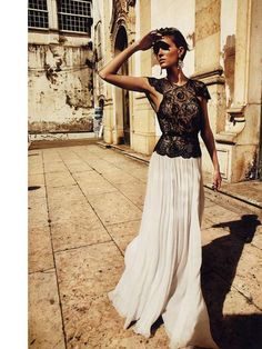 maxi skirt + black lace top