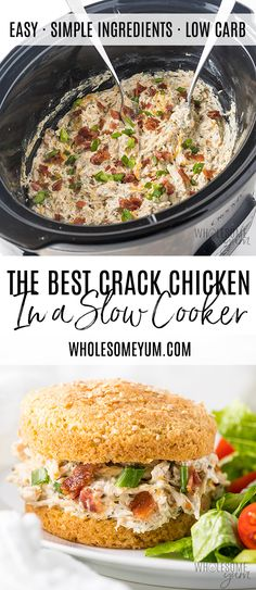 Crock Pot Slow Cooker Crack Chicken Recipe - This slow cooker crack chicken recipe is so EASY! If you want to know how to make Crock Pot crack chicken, it takes just 10 minutes prep time. And, no one will know it happens to be keto crack chicken, too. Healthy Chicken Recipes, Low Carb Recipes, Real Food Recipes, Chicken Recipes In Crock Pot, No Carb Slow Cooker Recipes, Summer Crock Pot Recipes, Crock Pot Dinners, Easy Chicken Dinner Recipes, Recipes Dinner