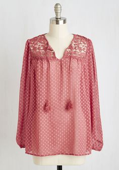 I'd be Lyon Top. Wed be remiss if we didnt declare this Swiss-dotted blouse a most graceful look for your premiere day of travel! #red #modcloth