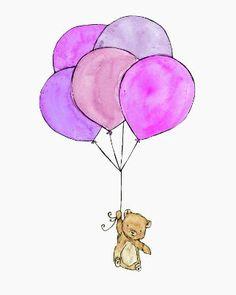 bears with balloons art print