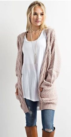 love the fit of the white top and the slouchy oversize cardigan