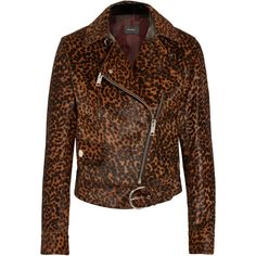 Isabel Marant Leopard-print calf hair biker jacket (€1.070) ❤ liked on Polyvore featuring outerwear, jackets, animal print, leopard print motorcycle jacket, leopard print moto jacket, asymmetrical zip jackets, asymmetrical zipper jacket and leopard moto jacket