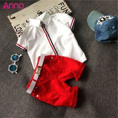 Hot sale 2016 Summer style Children clothing sets Baby boys girls t shirts+shorts pants+belt 3pcs sports suit kids clothes TP048