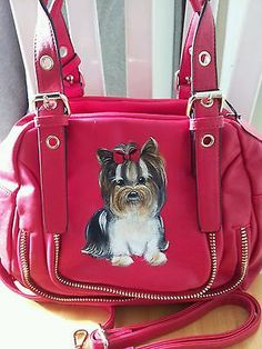 Handpainted Biewer Yorkie Red Handbag Painting Purse Dog Art Misspaintsalot