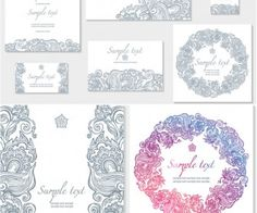 5 sets of vector baroque decorative elements in vintage style with floral ornate wedding invitation templates vector stopboris Choice Image