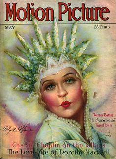 Phyllis Haver, on the cover of the May 1929 Motion Picture Magazine, by Marland Stone