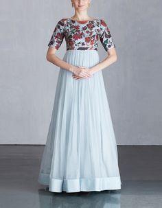 Ice Blue Koela Chiffon Dress/ MRUNALINI RAO 488 Indian Long Gowns, Indian Gowns Dresses, Indian Fashion Dresses, Indian Outfits, Stylish Dresses For Girls, Stylish Dress Designs, Designs For Dresses, Simple Gown Design, Long Dress Design